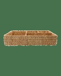 - Flacher Aufbewahrungskorb – Natur - aus handgeflochtener Wasserhyazinthe