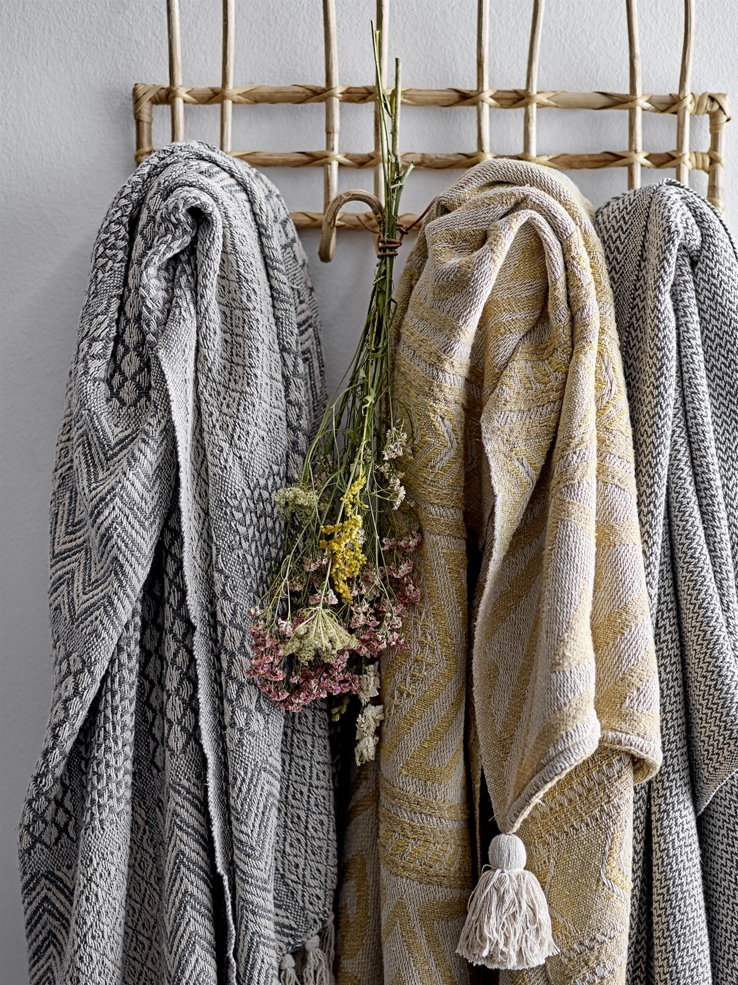Bloomingville - Decke – Gelb - aus recyclter Baumwolle