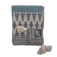 Bloomingville - Decke – Blau - aus recyclter Baumwolle