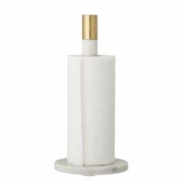 Bloomingville - Bloomingville Küchenpapierhalter, Marmor – Weiß - aus Marmor mit Messingdetail
