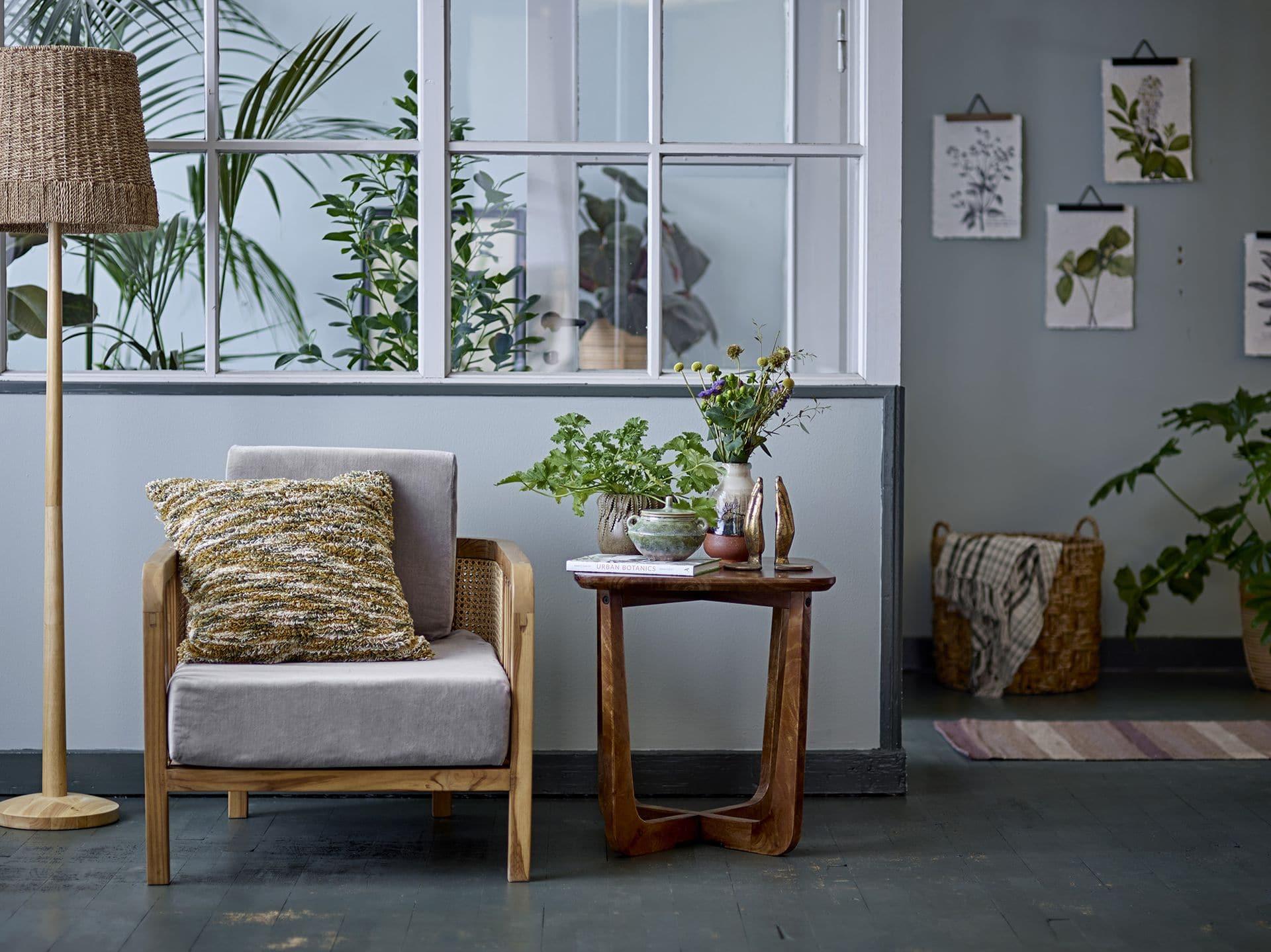 Bloomingville - Bloomingville – Felucca Lounge-Sessel, Grün aus Teakholz - L81,5xH58,5xW71 cm