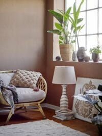 Bloomingville - Bloomingville – Shelly Tischlampe, Weiß aus Mangoholz - D40,5xH74 cm