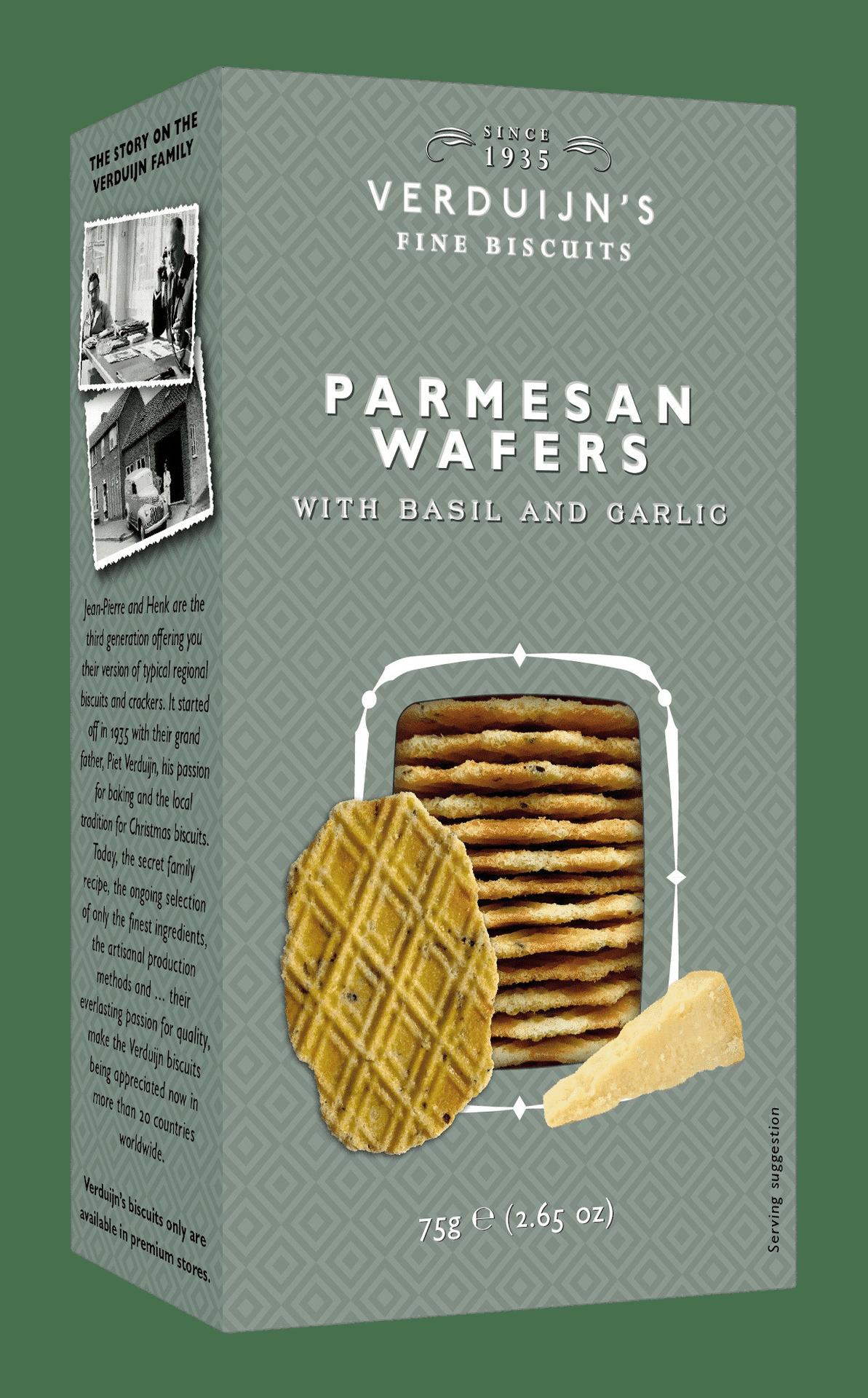 VERDUIJN'S - Parmesan Wafers - Holländische Waffeln mit Parmesan und Basilikum