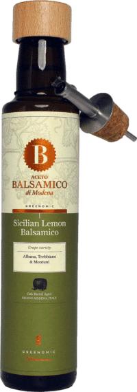 GREENOMIC - Greenomic – Aceto Balsamico mit Sizilianischer Zitrone + Ausgießer - Balsamico-Essig in Premium-Qualität aus Italien