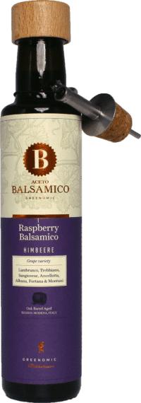 GREENOMIC - Greenomic – Aceto Balsamico mit Himbeere + Ausgießer - Balsamico-Essig in Premium-Qualität aus Italien