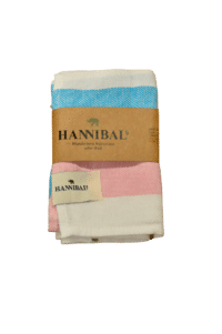 HANNIBALs - HANNIBALs Geschirrtuch – Aquablau/Rose - 100% Baumwolle