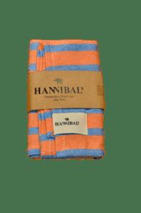 HANNIBALs - HANNIBALs Geschirrtuch – Orange/Blau gestreift - 100% Baumwolle