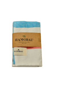 HANNIBALs - HANNIBALs Geschirrtuch – Aquablau/Rot - 100% Baumwolle