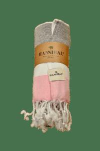 HANNIBALs - HANNIBALs Hamamtuch – Schwarz/Weiß/Rose - Strandtuch - 100% Baumwolle
