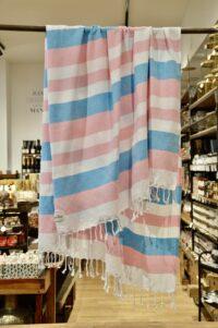 HANNIBALs - HANNIBALs Hamamtuch – Aquablau/Rose - Strandtuch - 100% Baumwolle