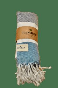 HANNIBALs - HANNIBALs Hamamtuch – Schwarz/Weiß/Blau - Strandtuch - 100% Baumwolle
