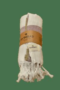 HANNIBALs - HANNIBALs Hamamtuch – Creme/Bordeaux/Ocker - Strandtuch - 100% Baumwolle