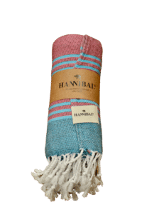 HANNIBALs - HANNIBALs Hamamtuch – Aquablau/Fuchsia - Strandtuch - 100% Baumwolle