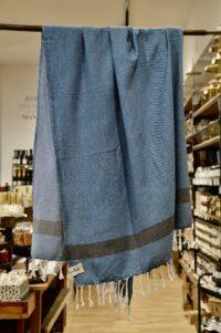 HANNIBALs - HANNIBALs Hamamtuch – Royalblau Streifen/Schräg - Strandtuch - 100% Baumwolle