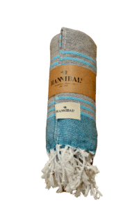 HANNIBALs - HANNIBALs Hamamtuch – Schwarz/Aquablau - Strandtuch - 100% Baumwolle