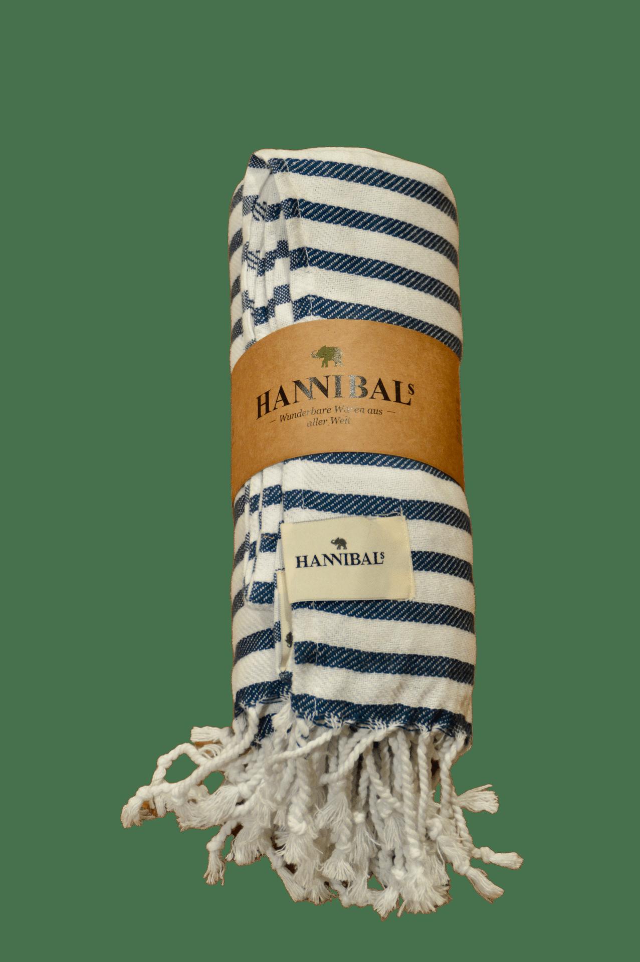 HANNIBALs - HANNIBALs Hamamtuch – Dunkelblau gestreift - Strandtuch - 100% Baumwolle