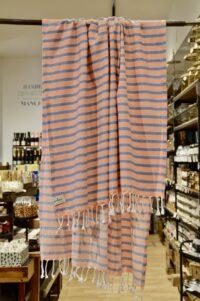 HANNIBALs - HANNIBALs Hamamtuch – Orange/Blau gestreift - Strandtuch - 100% Baumwolle
