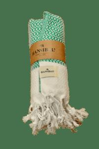 HANNIBALs - HANNIBALs Hamamtuch – Raute Grün/Weiß - Strandtuch - 100% Baumwolle