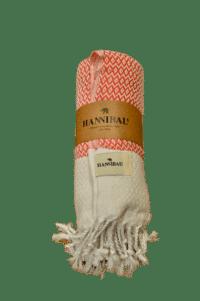 HANNIBALs - HANNIBALs Hamamtuch – Raute Rot/Weiß - Strandtuch - 100% Baumwolle