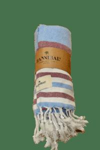 HANNIBALs - HANNIBALs Hamamtuch – Blau/Bordeaux - Strandtuch - 100% Baumwolle