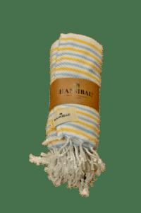HANNIBALs - HANNIBALs Hamamtuch – Gelb/Blau gestreift - Strandtuch - 100% Baumwolle