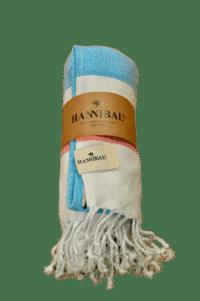 HANNIBALs - HANNIBALs Hamamtuch – Aquablau/Rot - Strandtuch - 100% Baumwolle