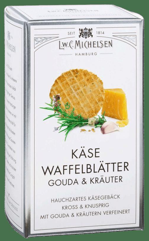 L.W.C. Michelsen - Käse Waffelblätter Gouda und Kräuter - Hauchzarte Goudawaffeln mit fein-würzigen Kräutern und einem Hauch Knoblauch