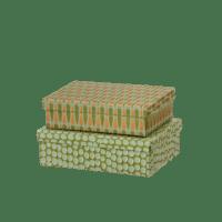 BUNGALOW - Geschenkbox Dot Moss – S - 2er Set