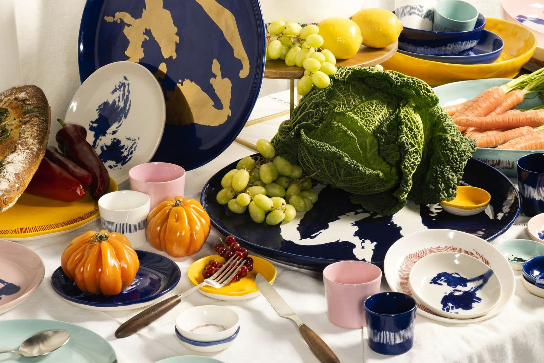 SERAX-OTTOLENGHI - OTTOLENGHI- FEAST Espresso Cups 15 cl – Lapis Lazuli + Swirl Stripes White - 4er SET ø 7 x H6 CM