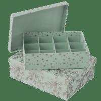 BUNGALOW - Aufbewahrungsboxen mit Unterteilung – 2er Set - in Mint-grün