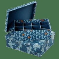 BUNGALOW - Aufbewahrungsboxen mit Unterteilung – 2er Set - in Blau