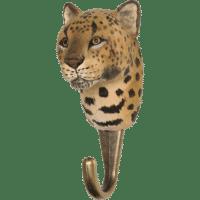 WILDLIFE GARDEN - Handgeschnitzter Haken – Leopard - Wandhaken aus Holz