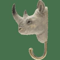 WILDLIFE GARDEN - Handgeschnitzter Haken – Nashorn - Wandhaken aus Holz