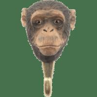 WILDLIFE GARDEN - Handgeschnitzter Haken – Schimpanse - Wandhaken aus Holz
