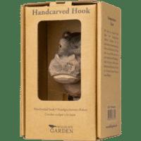 WILDLIFE GARDEN - Handgeschnitzter Haken – Nilpferd - Wandhaken aus Holz