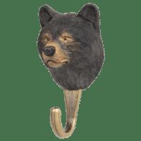 WILDLIFE GARDEN - Handgeschnitzter Haken – Schwarzbär - Wandhaken aus Holz