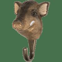WILDLIFE GARDEN - Handgeschnitzter Haken – Wildschwein - Wandhaken aus Holz