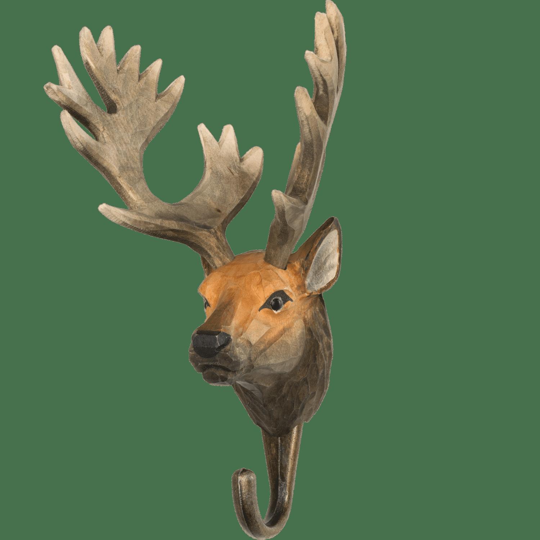 WILDLIFE GARDEN - Handgeschnitzter Haken – Rothirsch - Wandhaken aus Holz