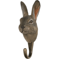 WILDLIFE GARDEN - Handgeschnitzter Haken – Schneehase - Wandhaken aus Holz