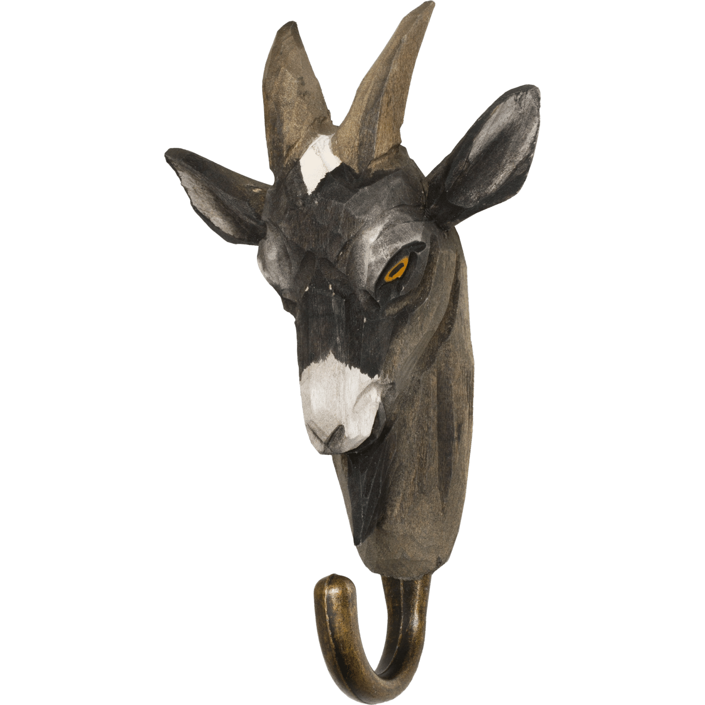 WILDLIFE GARDEN - Handgeschnitzter Haken – Ziege - Wandhaken aus Holz