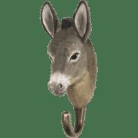WILDLIFE GARDEN - Handgeschnitzter Haken – Esel - Wandhaken aus Holz