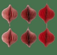 BUNGALOW - Papier Anhänger Oval  – Bordeaux - 6er Set in 3 Farben