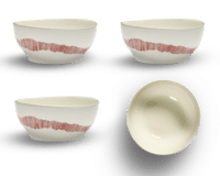SERAX-OTTOLENGHI - OTTOLENGHI FEAST Bowl Large – White + Swirl Stripes Red - Large - 4er SET ø 15 x H7 CM