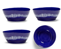 SERAX-OTTOLENGHI - OTTOLENGHI FEAST Bowl XL – Lapis Lazuli + Swirl Stripes White - XLarge - 4er SET ø 17 x H7 CM