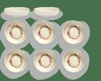 SERAX-OTTOLENGHI - OTTOLENGHI – FEAST Schale XS – White + Swirl Stripes Red - 8er SET, ø 7.5 x H2 CM