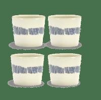 SERAX-OTTOLENGHI - OTTOLENGHI- FEAST Espresso Cups 15 cl – White + Swirl Stripes Blue - 4er SET ø 7 x H6 CM