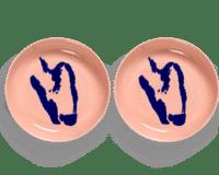 SERAX-OTTOLENGHI - OTTOLENGHI – FEAST Teller Hoher Rand – Delicious Pink + Pepper Blue - 2er SET ø 22 x H4 CM