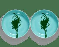 SERAX-OTTOLENGHI - OTTOLENGHI – FEAST Teller Hoher Rand – Azure + Artichoke Green - 2er SET ø 22 x H4 CM