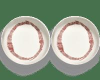 SERAX-OTTOLENGHI - OTTOLENGHI – FEAST Teller Hoher Rand – White + Swirl Stripes Red - 2er SET ø 22 x H4 CM