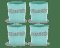 SERAX-OTTOLENGHI - OTTOLENGHI – FEAST Coffee Cups 25 cl  – Azure + Swirl Stripes Red - 4er Set ø 7.5 x H7.5 CM